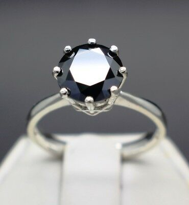 2.13cts 8.68mm Natural Black Diamond Ring, Certified, AAA Grade & $1265 Value