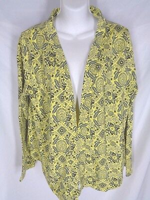 NEW Fresh Produce L Cambridge Travel Open Jacket Top Yellow Daffodil $54
