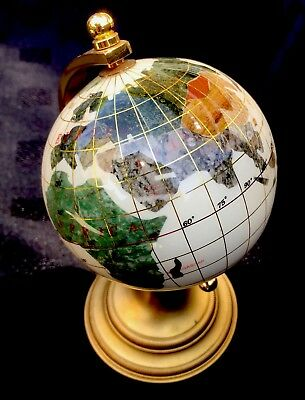 Gemstone World Globe Crushed Mother of Pearl On Brass Stand