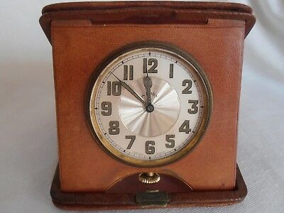 Antique Leather Bound Gentlemen's Travel Clock - 8 Day Swiss Movement Working