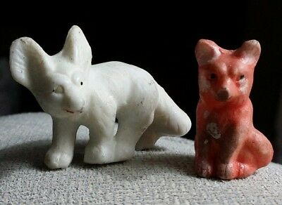 Vintage 2 BISQUE CERAMIC FOXES figurines, made in Japan