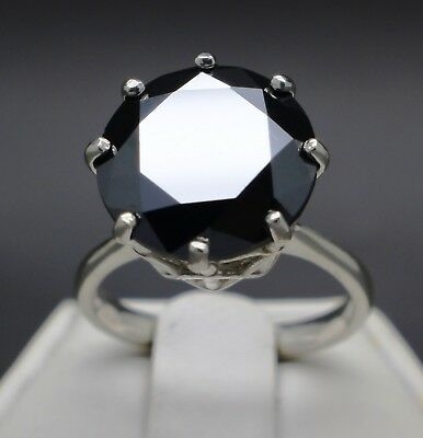 6.20cts 12.23mm Natural Black Diamond Ring, Certified, AAA Grade & $3300 Value
