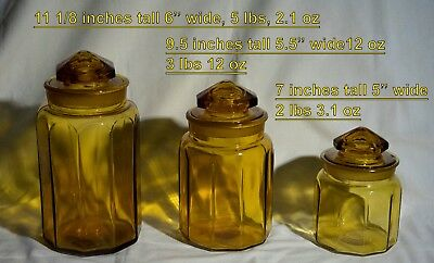3 vintage heavy amber glass candy jars