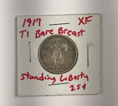 1917 Type 1 Bare Breast Standing Liberty Quarter (Extra Fine)