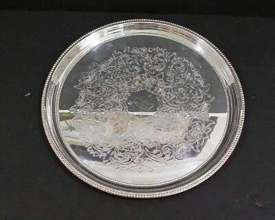 """Towle Silverplate Round Engraved Serving Tray 10"""" # 6672"""