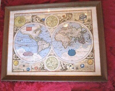A New and Accurate Map of The World by John Speed 1627 Atlas Print Glass Framed