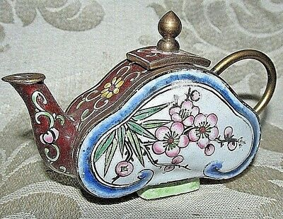 Vintage Asian Chinese Miniature Teapot Pink Blossoms Flowers Brass Enamel 8CmW