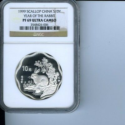 1999 Scallop China Year Of The Rabbit, 10 Y, Pf69 Ultra Cameo