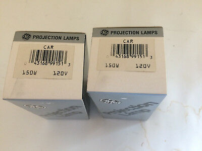 Lot Of 2 GE General Electric CAR 150 W 120 V Projection Lamp