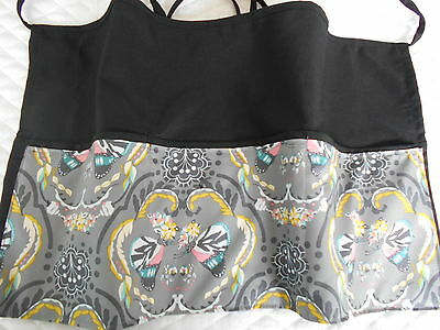 3 POCKET Server WAITRESS WAIST APRON Pink Grey Butterfly W/WO Name Lady Pizazz