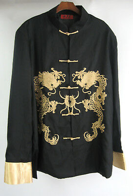 Traditional Chinese Golden Dragon Frog Black Embroidered Shirt Jacket Fits XL