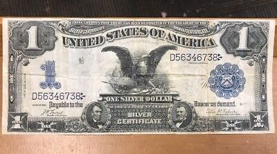 1899 $1 Black Eagle Silver Certificate VF Condition, No Holes Or Tears!