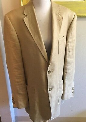 Banana Republic Khaki 100% Linen Sport Coat Jacket Sz 44L