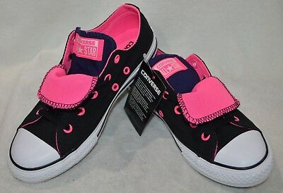 7d350b3a9065 Converse Girl s Chuck Taylor Double Tongue OX Black Pink W Sneakers-Size 2