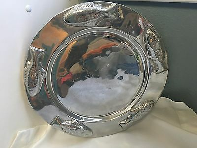 "Pewter Serving Plate Fish 3D Heavy Candle Holder 12"" Round Platter"