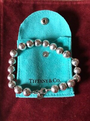 TIFFANY STERLING SILVER 925 9mm BEAD BRACELET WITH POUCH EXC NR!