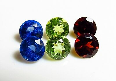 6pc KYANITE - PERIDOT - GARNET 5mm ROUND CUT LOOSE GEMSTONES SET cut from rough