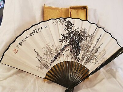 Vintage Hand Painted Chinese Fan In Original Box Beautiful Fan With Coa Sticker