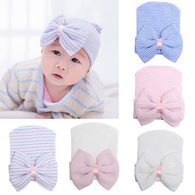 Cute Newborn Baby Infant Girl Toddler Comfy Bowknot Hospital Beanie Hat~