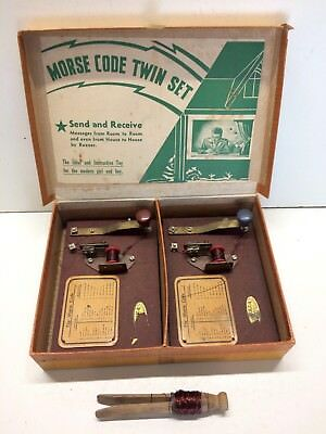 """Vintage 40's/50's Morse Code Twin Set-Boys & Girls,made in Australia by """"Buzza"""""""