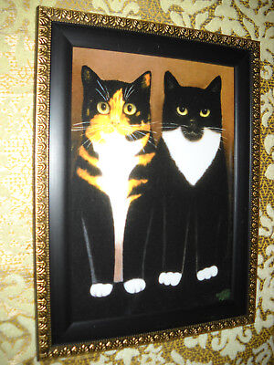2 CAT BUDDIES 5 X 7 black framed animal wall picture Vintage style art print