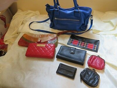 8 PC Lot Ladies Leather Purses and Wallets DKNY, Kenneth Cole, Wilson's Leather!