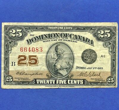 1923 Dominion Of Canada 25 Cent ( Shinplaster ) Bank Note S/N B 664083