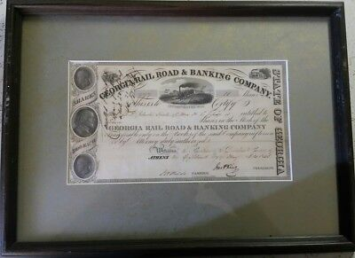 Rare Georgia Rail Road & Banking Company 1843 11 Shares Stock Certificate Framed