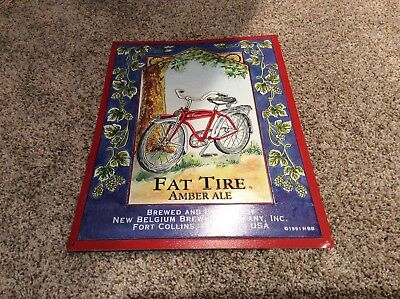 Vintage 1991 New Belgium Brewing Co Fat Tire Amber Ale Embossed Tin Beer Sign