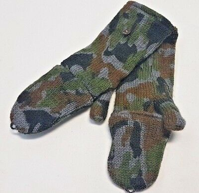 100% Natural Wool Camo Handmade Mitten & Fingerless With Pouch Hunting Glove