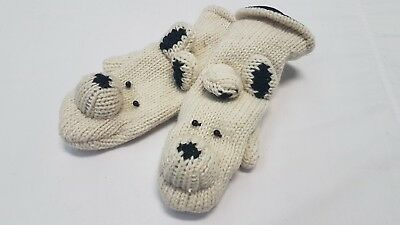 100% Natural Wool Panda Handmade Kids Mitten Children Ski Gloves