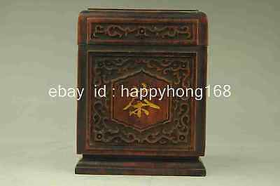 Old Chinese Blackwood Bamboo Travel Portable Tea Caddy Box Storage Canister d02