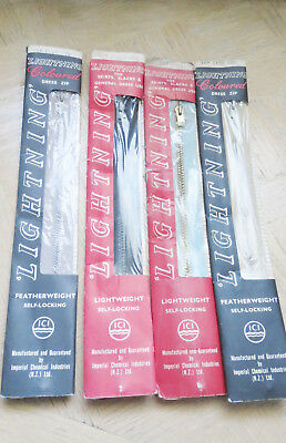 Vintage 1950s Lightning zip ICI collectable x4 in packet  bulk zippers made NZ