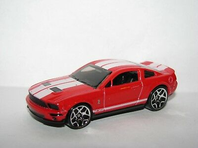 Hot Wheels '07 2007 Ford Shelby GT500 GT 500 Mustang Red and White 1:64