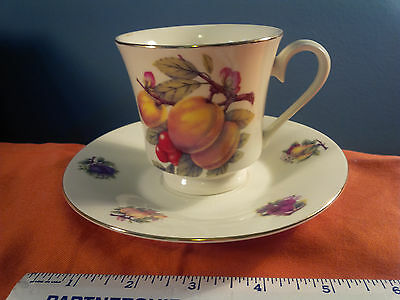 Formalities PEACHES PLUMS &  FRUIT Cup and Saucer by Baum Bros VINTAGE  (kk)