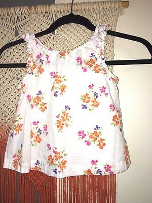 Janie and Jack Top Girls Shirt Blouse White Floral Flower Spring Sleeveless