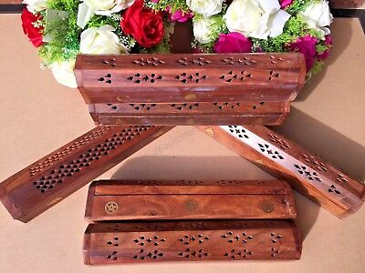 Wooden Incense Holder Burner Box Stick Cone Holder Home Decor Handmade 30cm