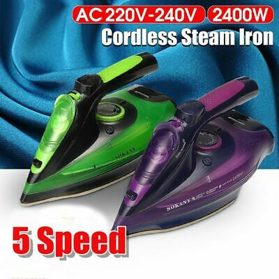 Portable Cordless Steam Iron Steamer Wireless Charging Clothes Ironing 2400W