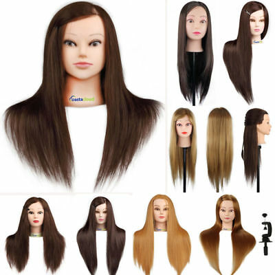"""22""""-26"""" Human Hair Practice Hairdressing Head Training Head Mannequin With Clamp"""