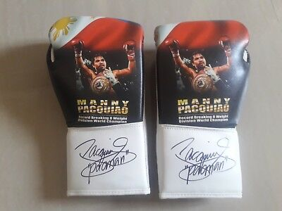 Limited Edition custom made Boxing gloves hand signed by Manny Pacquiao
