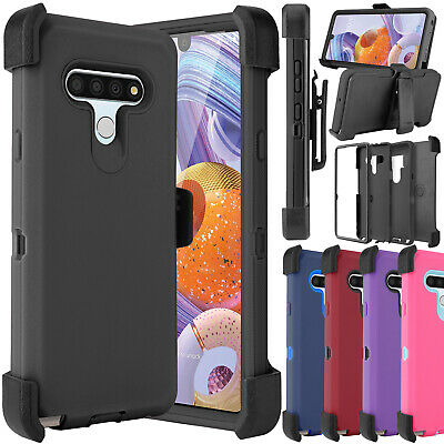 For LG Stylo 4/ 4 Plus/ Q Stylus Shockproof Clip Holster Rubber Armor Case Cover
