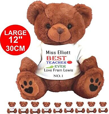 """Personalised Brown Teddy Bear 25Cm/10"""" Sitting Teacher Heart  Any Message Gift"""