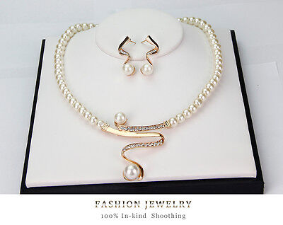 New Arrival ! Rhinestone Prom Pearl Necklace Earring Wedding Bridal Jewelry Set