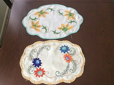 2 Embroidered Doilies