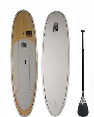 Stand up Paddle - SUP board 9'8  + Grip + Paddle : Bamboo finish top