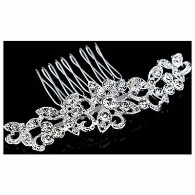 Wedding Bridal Hair Comb Clip Crystal Rhinestone Diamante Flower Silver V2R1