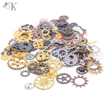 100g Metal Mixed Cogs & Gears Steampunk Bracelet Necklace Charms Clock Parts