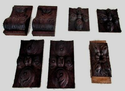7 Petite French Antique Corbels Brackets Hand Carved Wood Architectural Salvage