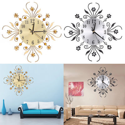 Modern Metal Wall Clock Flower Diamond Crystal Large Silent Home Office Decor UK