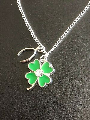 LUCKY FOUR LEAF CLOVER WISHBONE NECKLACE PENDANT  20 22 24  Silver Plated Chain
